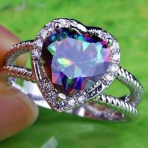 Silver Mystic Topaz Cocktail Ring Size 10 11 12 13